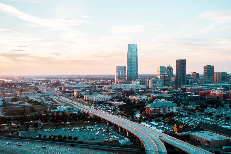 An aerial view of downtown Oklahoma City