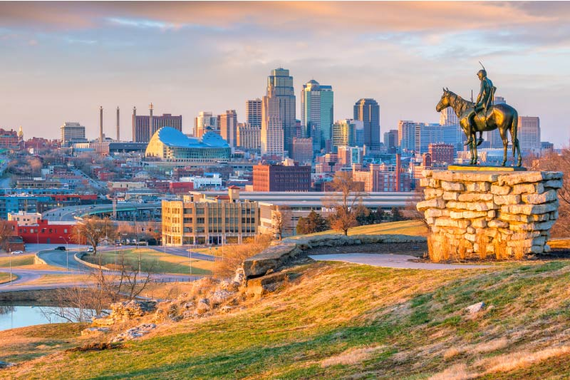 A view of Kansas City's skyline from Penn Valley Park.