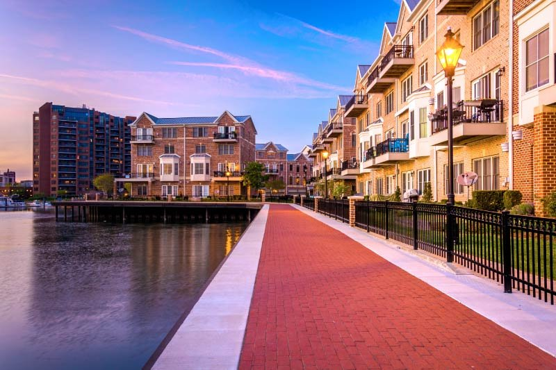 Homes along the Patapsco River in Canton, Baltimore.