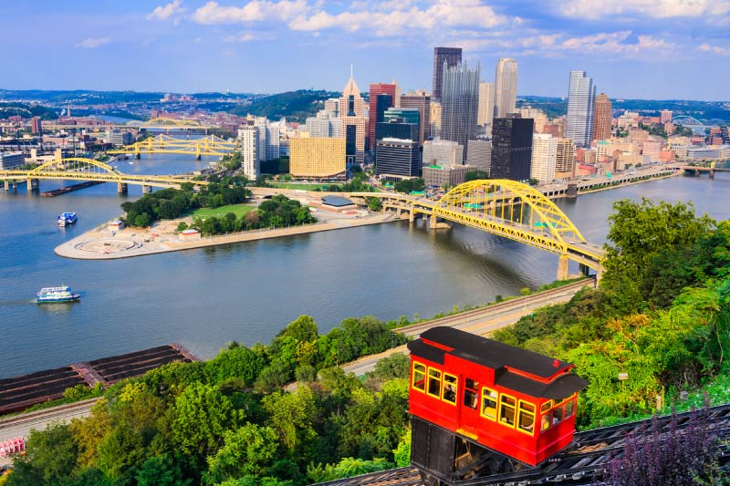 The Duquesne Incline and Pittsburgh Skyline.