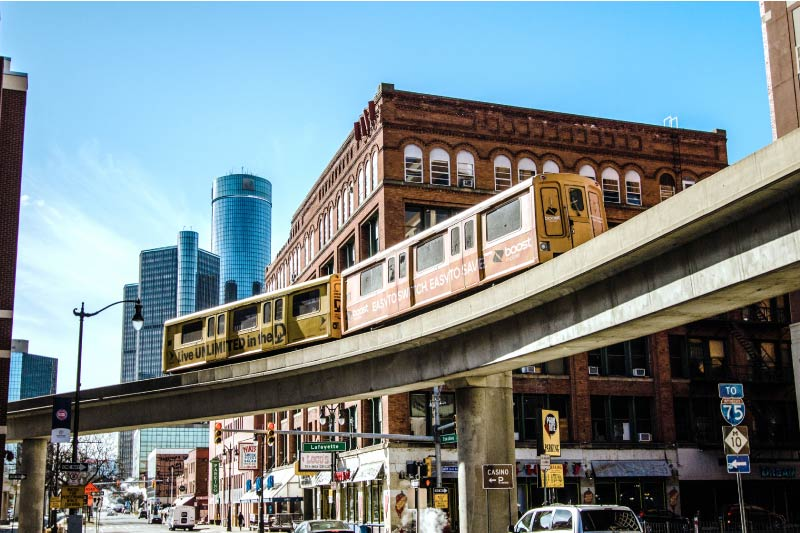 The Detroit People Mover monorail moving through downtown Detroit.