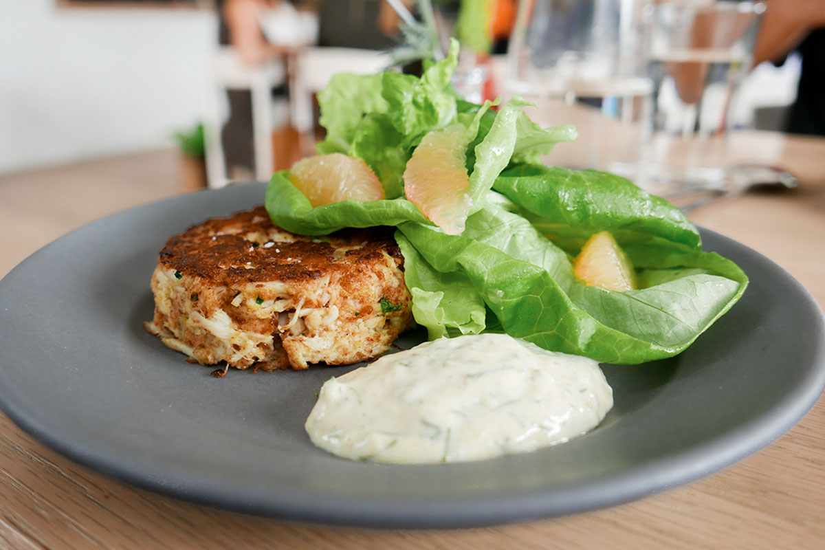 Crab cake and salad at Henrietta Red