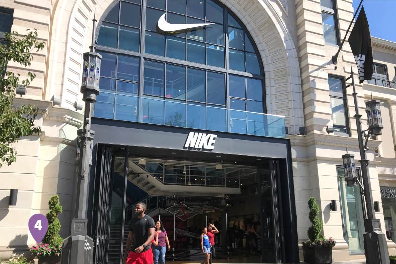 People exiting the Nike store in The Grove.