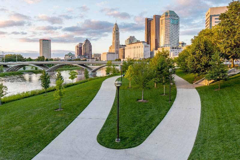 Bicentennial park in downtown Columbus.