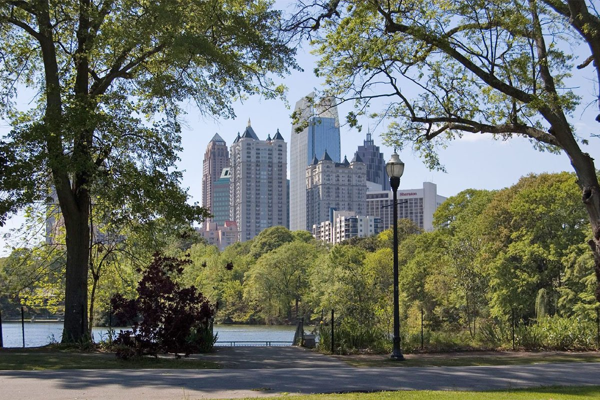 Park with the view of Midtown Atlanta