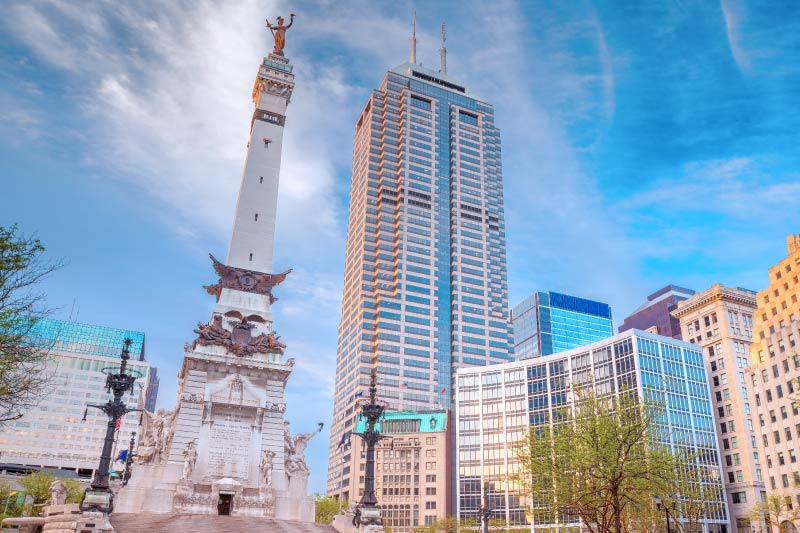 The Soldiers and Sailors Monument in Downtown Indianapolis.