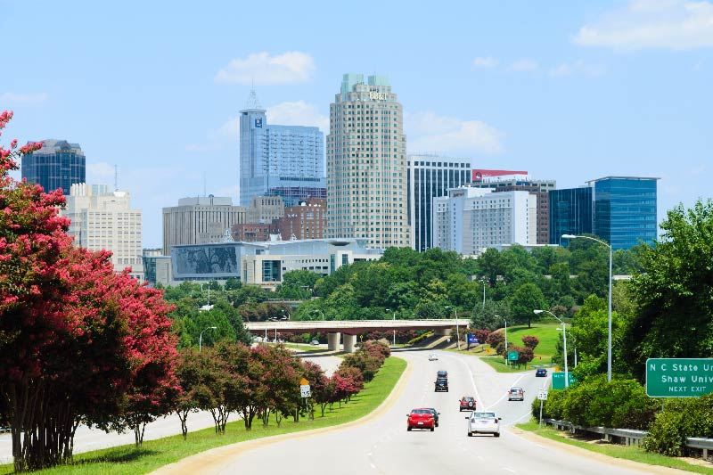 A view of downtown Raleigh from a highway