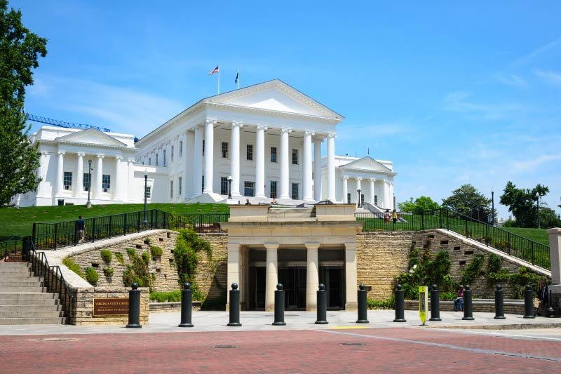 The Virginia State Capitol in Downtown Richmond.