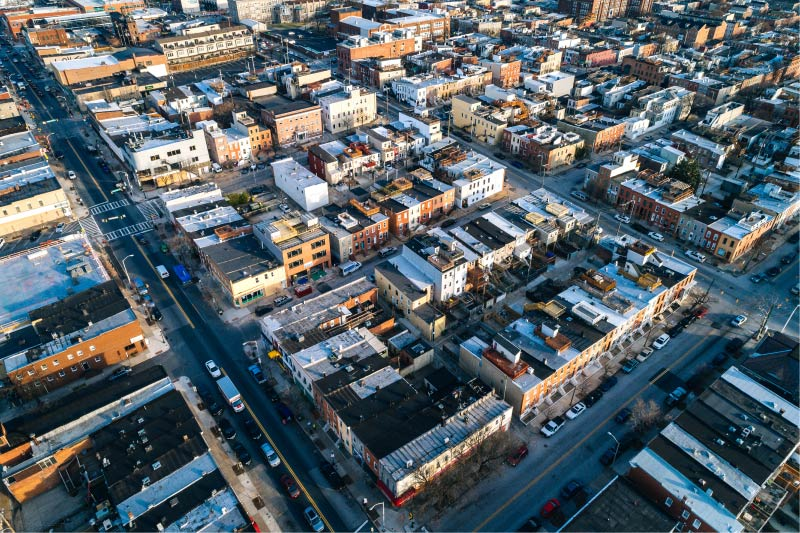 An aerial view above Highlandtown