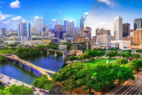 A split image with the skyline of Austin on the left and the skyline of Houston on the right
