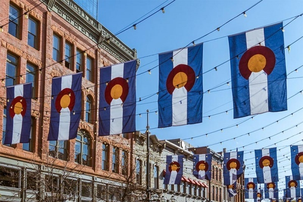 Colorado flags in cool downtown Denver