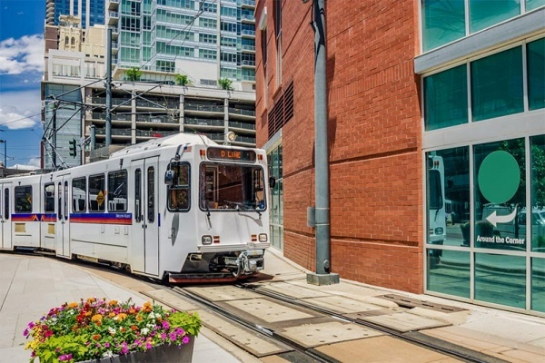 Light rail tram operating in Denver, Colorado