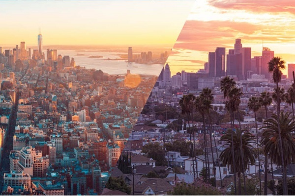 A split image at dawn with New York City on the left and Los Angeles on the right