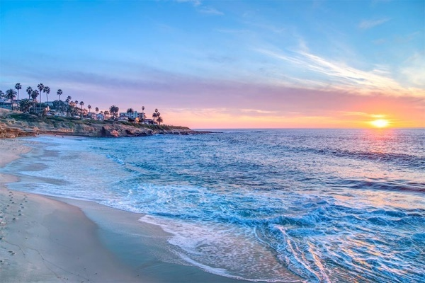 The sun sets over La Jolla in San Diego, California