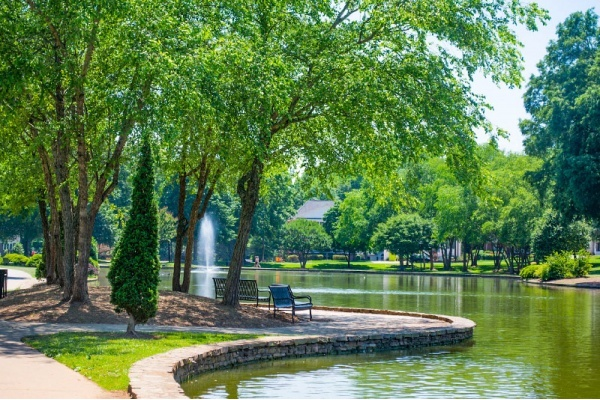 View of a park bench on a path along the water in a neighborhood in Charlotte.