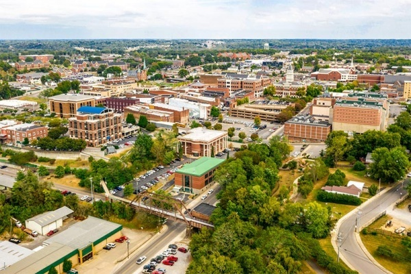 An aerial view of the city of Clarksville in Tennessee