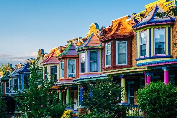 A row of colorful homes in Baltimore, Maryland.