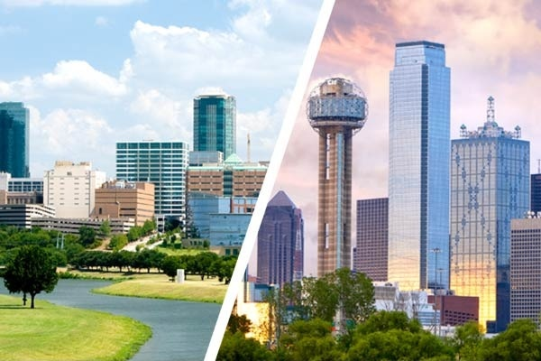 A comparison of Downtown Fort Worth (left) and Dallas (right)