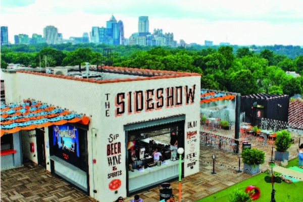 The Sideshow, a bar on the rooftop of Ponce City Market in Atlanta, Georgia.