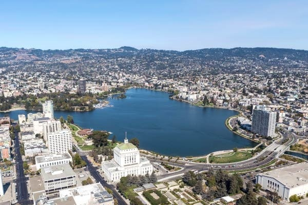 Oakland's Lake Merritt surrounded by urban development.