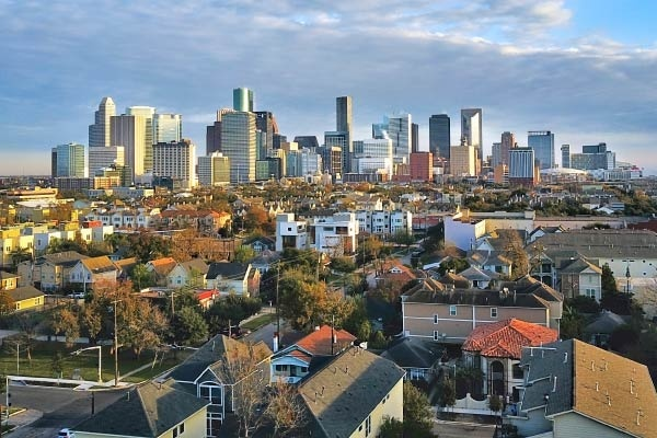 A view of downtown Houston from an urban neighborhood.