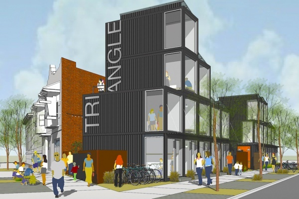 Title photo - Sacramento Startups Could Soon Call Stacked Shipping Containers Home