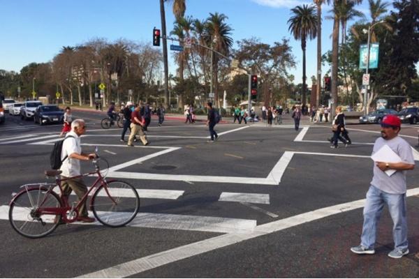 New Scramble Crosswalks Installed Along Alvarado in Westlake