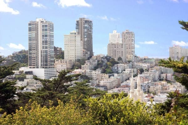 Russian Hill's high rise residential buildings.