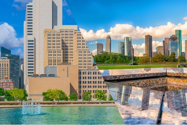 A split image of Dallas on the left and Houston on the right, both with fountains in front of the skyline against a blue sky