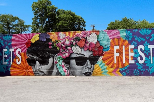 Fiesta mural in San Antonio Texas