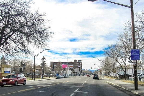 A view from the street with trees and buildings in Hale Denver Colorado