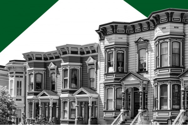 A black and white image of historic homes against a white background with green triangles behind
