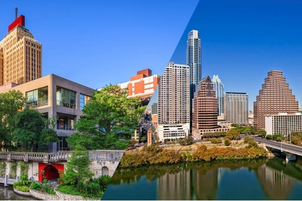 A half and half image with part of the San Antonio skyline on one side and part of the Austin skyline on the other