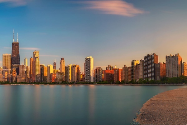 Chicago, Illinois, sunset, neighborhoods