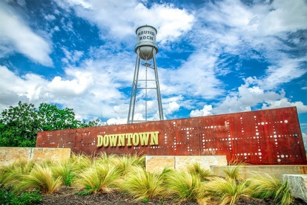 A water tower in Downtown Square in Round Rock, Texas