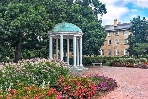 The famous Old Well on the campus of UNC Chapel Hill