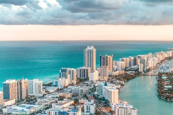 An overhead view of the buildings along South Beach in Miami Beach Florida