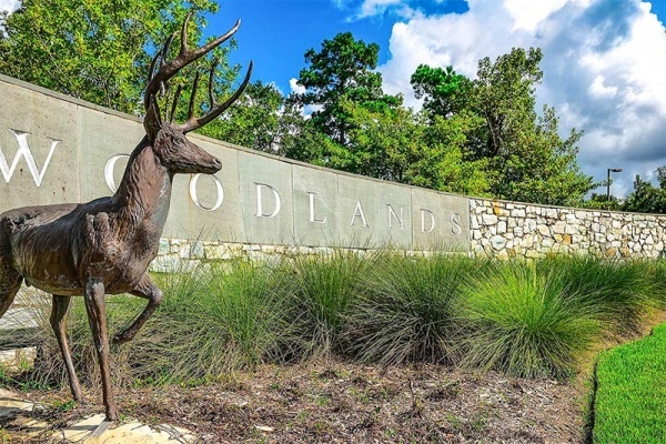 A large stone sign that says The Woodlands with a bronze deer in front of it and bushes around