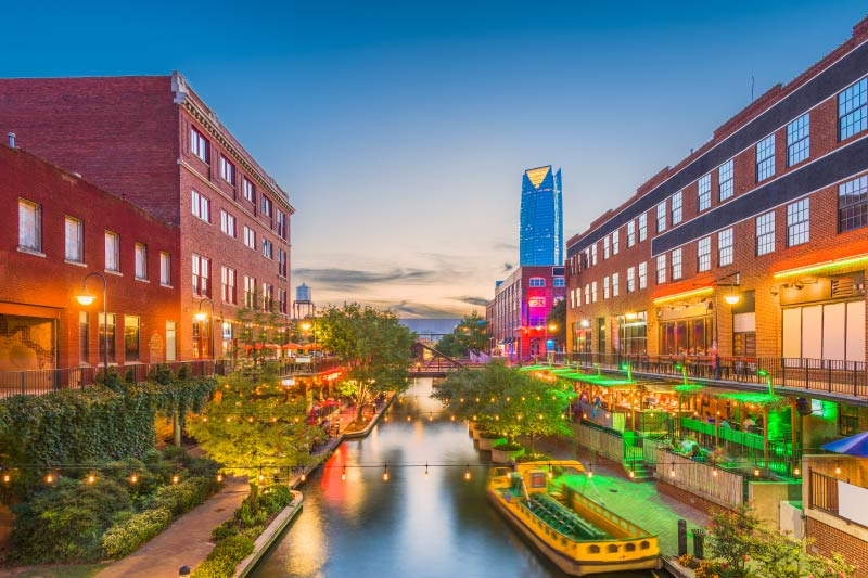 The Bricktown Canal in Oklahoma City.