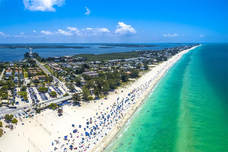 An overhead view of the end of Anna Maria Island in Florida