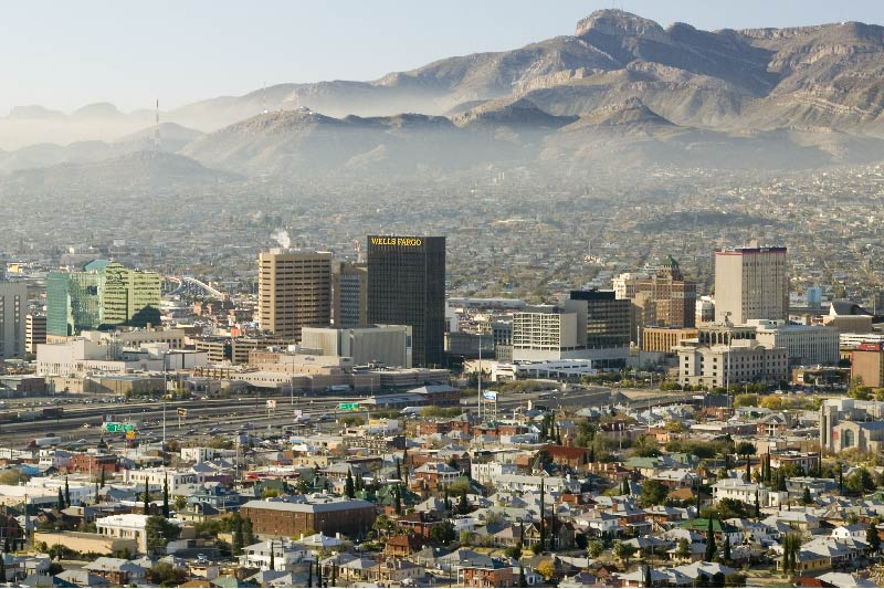 An aerial view of downtown El Paso