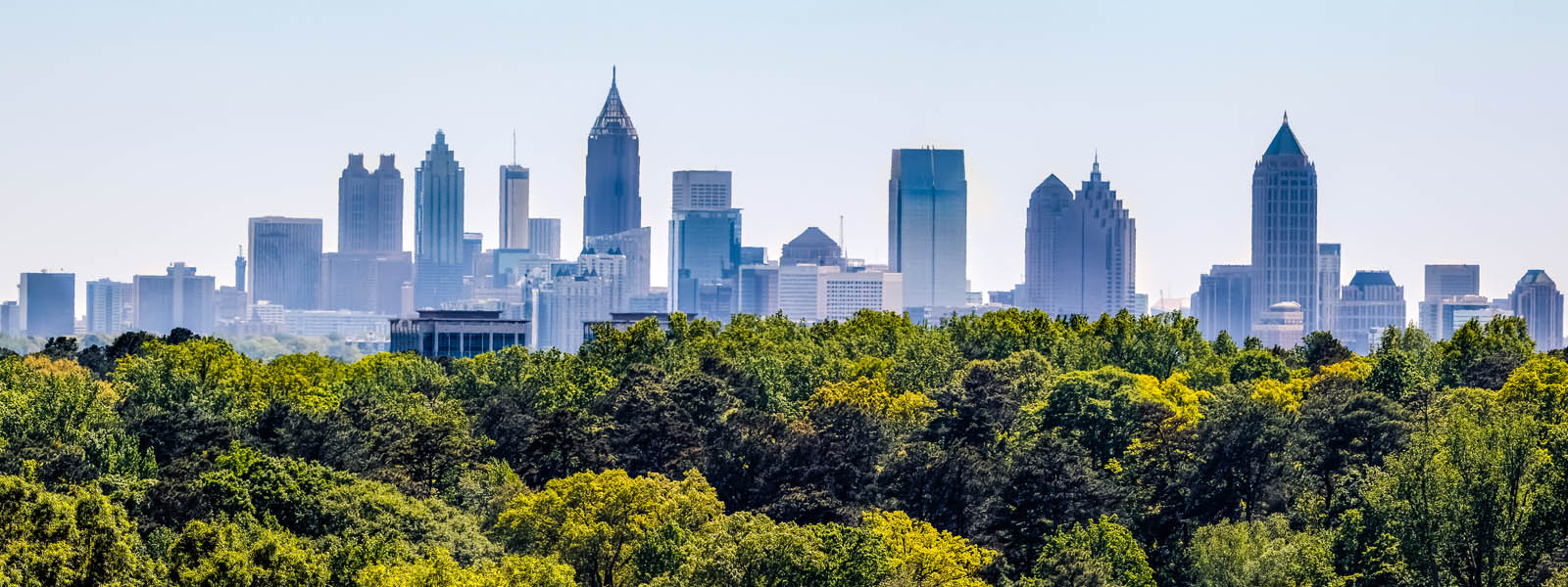 Atlanta's skyline from a distance with a tree line along the bottom of the image
