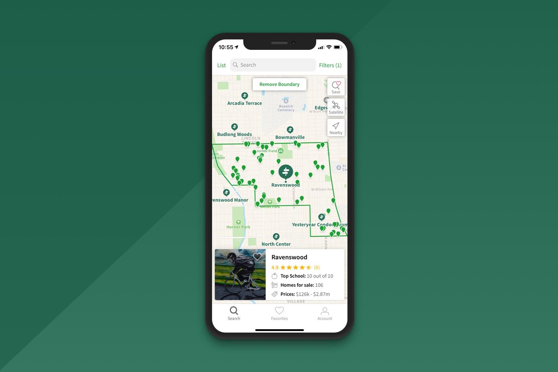 Neighborhood map in the Neighborhoods.com app