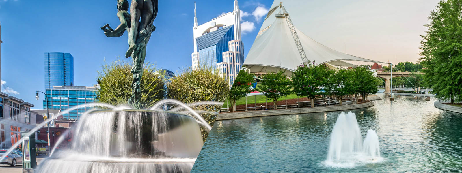 A split image of downtown Nashville and downtown Knoxville