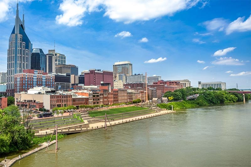 The Cumberland River sits beside downtown Nashville, TN.