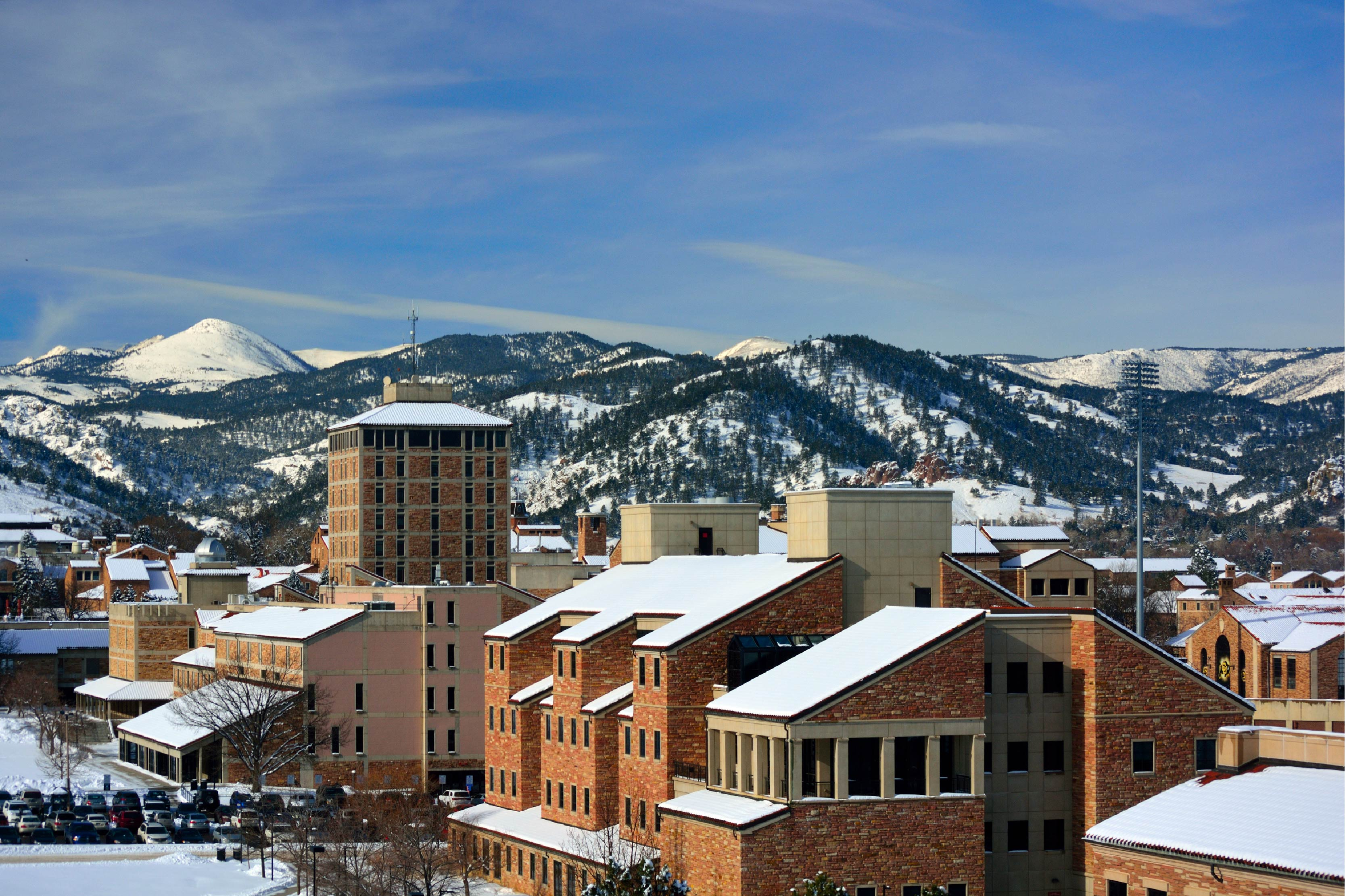 Snowy view of UC Boulder