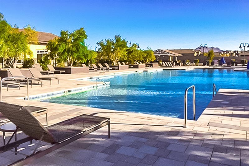 A pool with a patio in the Cadence community of Nevada