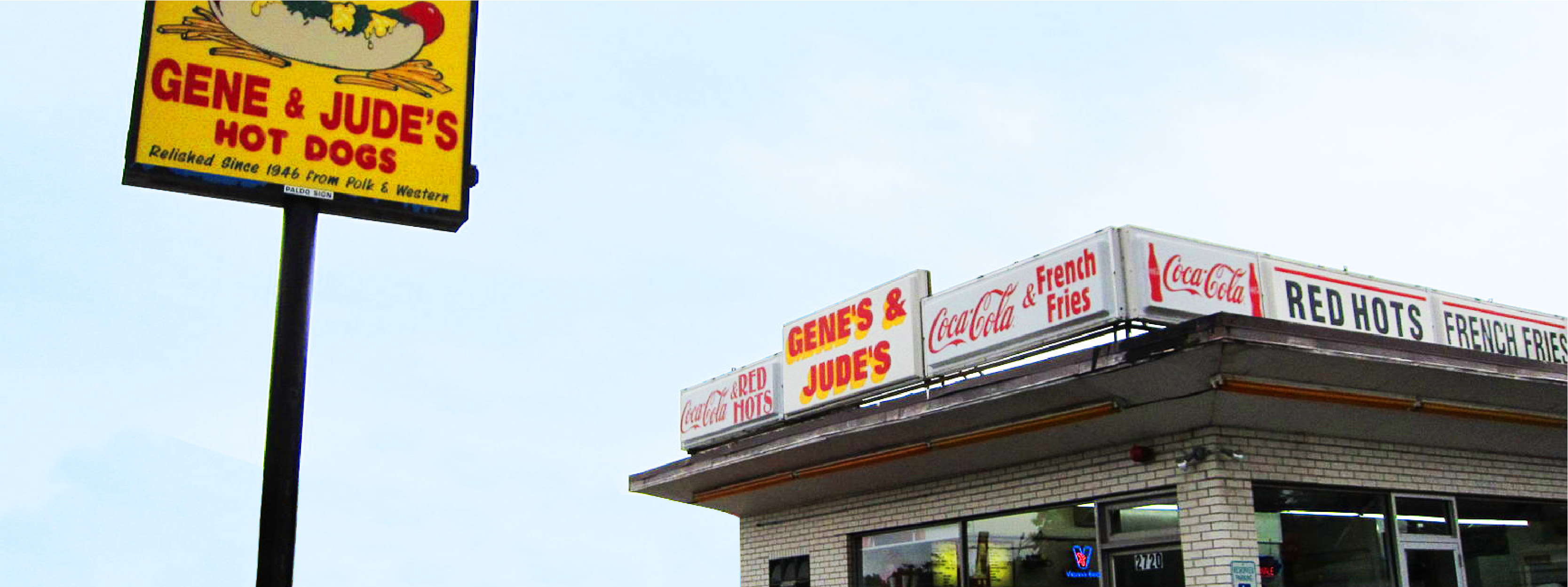 Signage at Gene & Jude's Hot Dogs