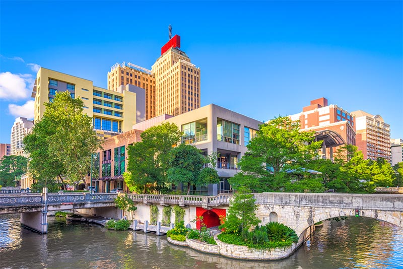 The skyline of San Antonio as seen from its famous river walk below