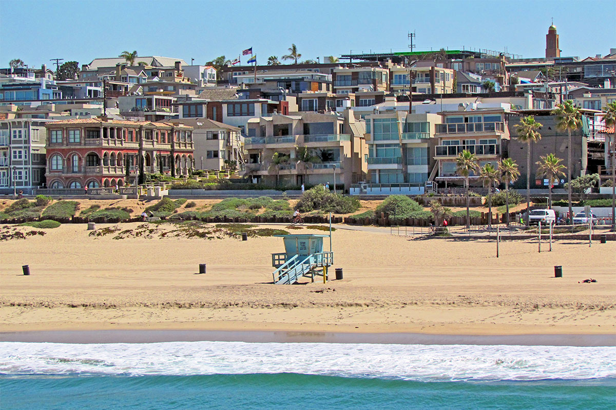 Houses on the beach in sand section